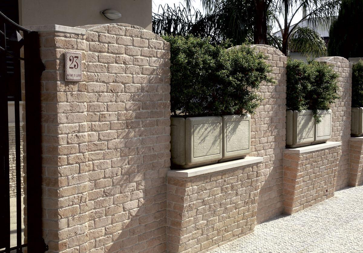 rivestimento per muro esterno con mattoncini