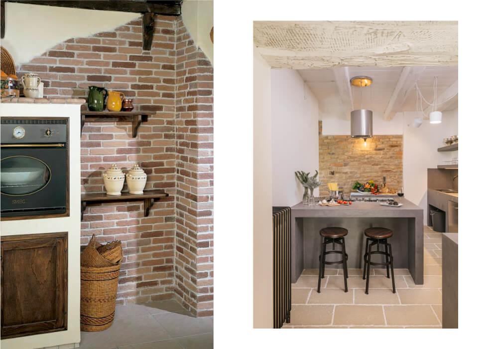 rivestimento cucina rustica parete mattoni pietra primiceri