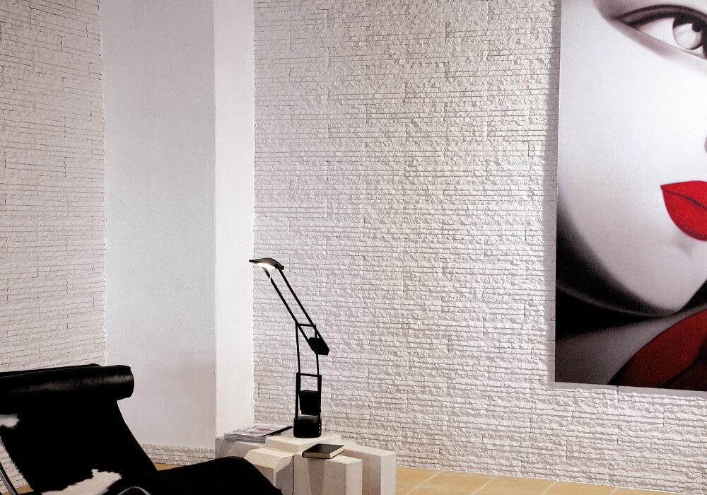rivestimento parete pietra primiceri bianca interno soggiorno